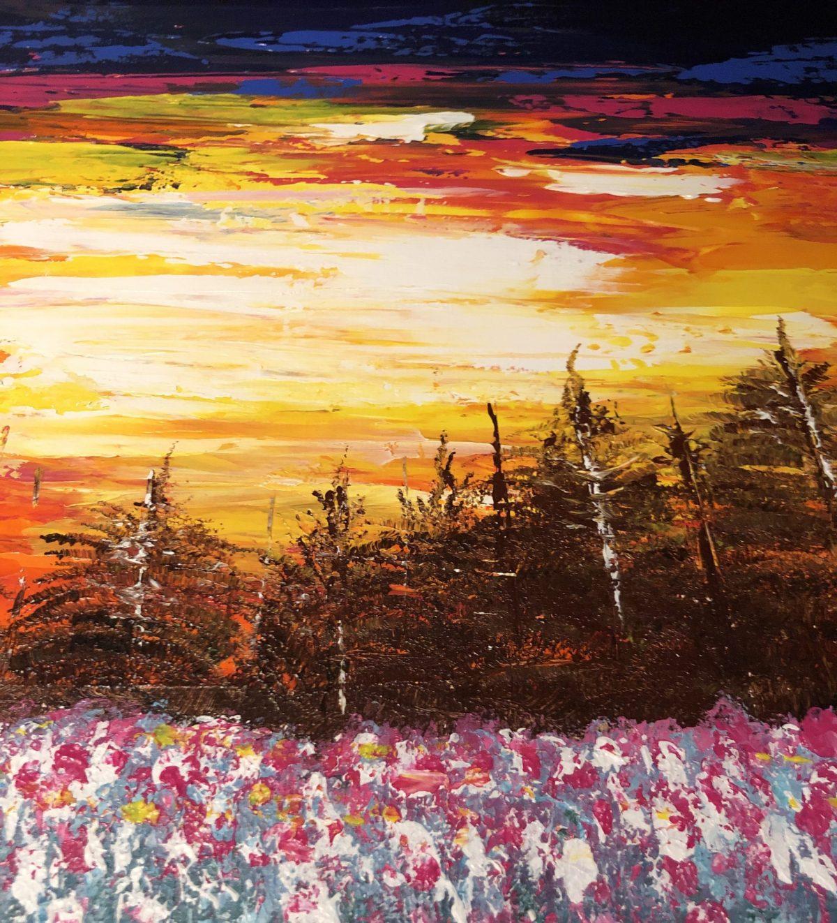 Coucher de soleil sur le champ fleuri, côté droite de tableau