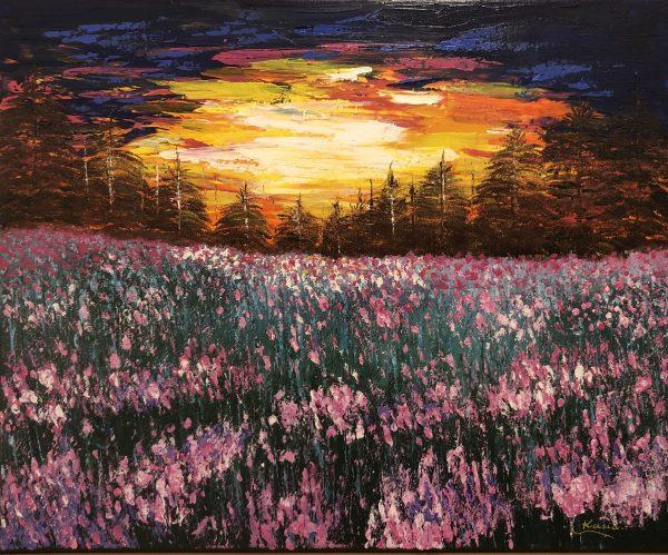 Coucher de soleil sur le champ fleuri, signé Kasia, Kate_Art Galerie