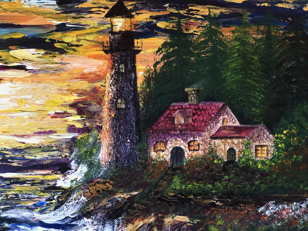 The Lighthouse under the waves, gros plan sur le phare et ses habitations