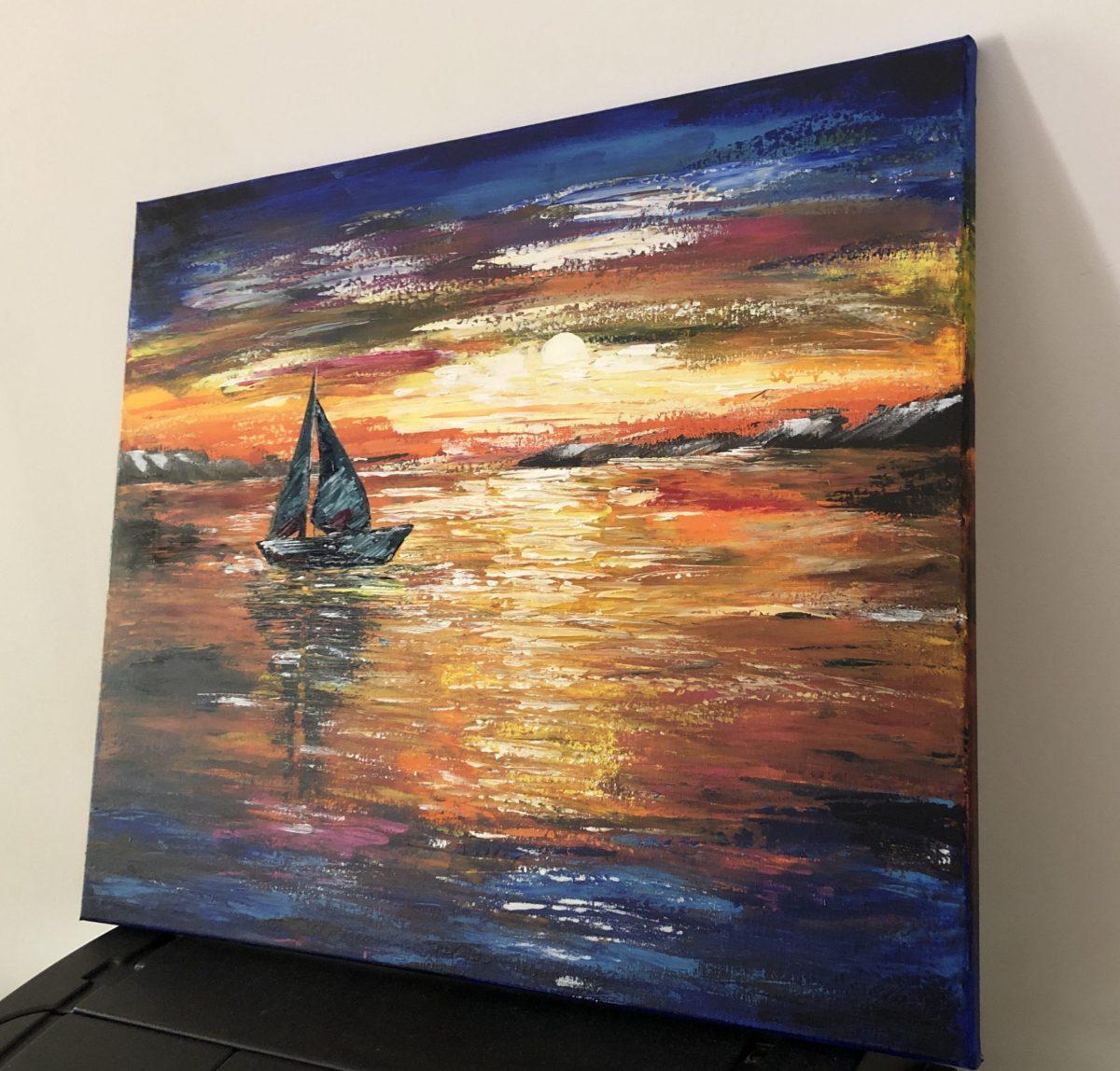 Sunset sail, côté droite du tableau