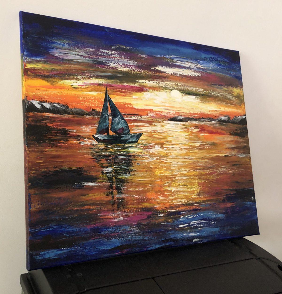 Sunset sail, côté gauche du tableau