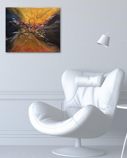 Lumière sorti du chaos, photo du tableau pris exposé au bureau