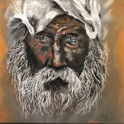Old man, dessin pastel sec de Kate Art, taille redimensionné
