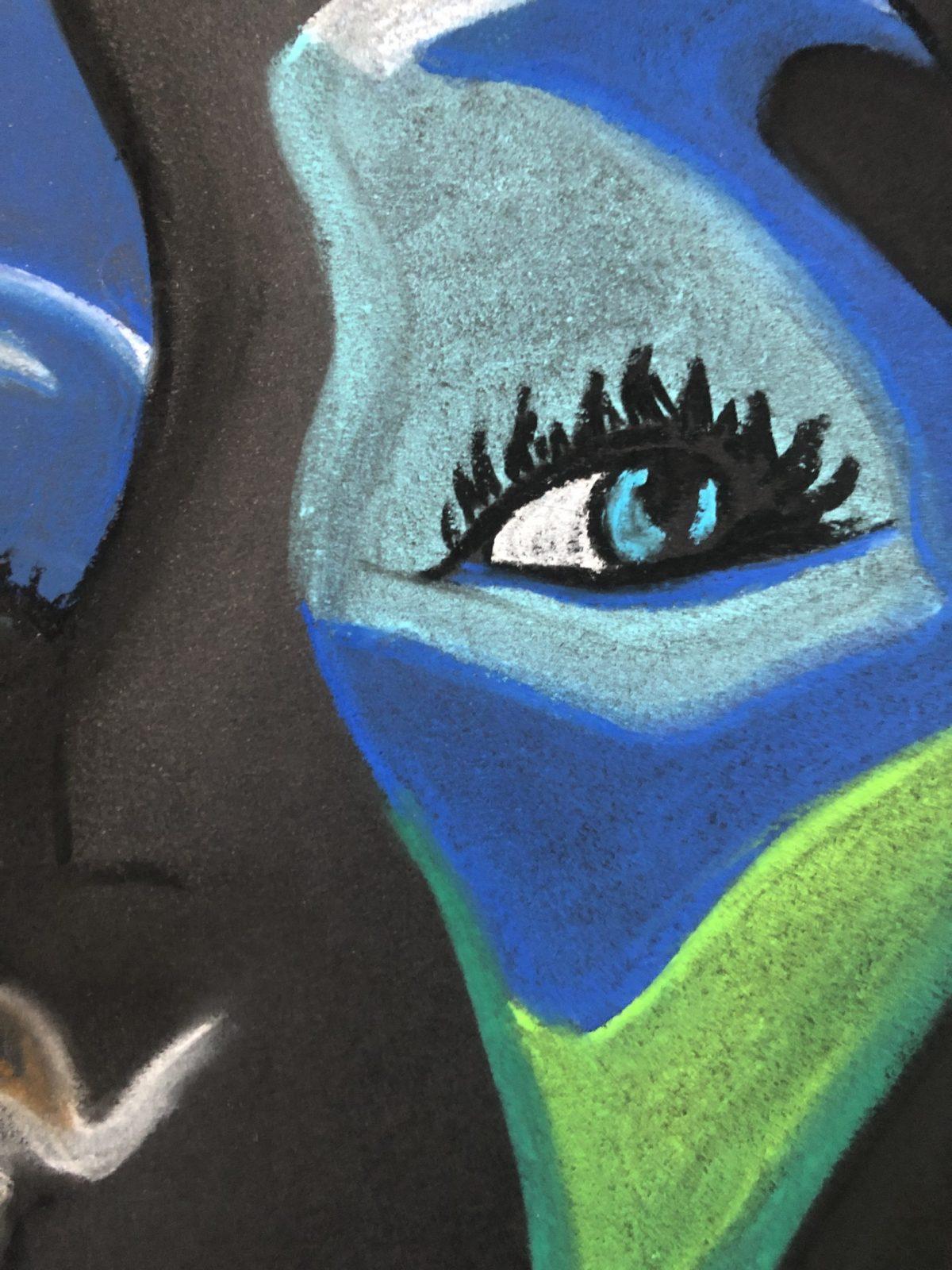 Pastel visages colorés abstrait (9)