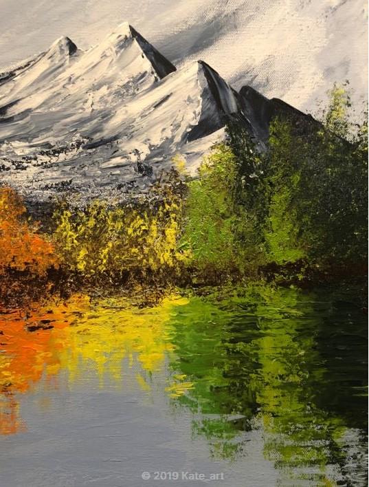 The colorful lake, gros plan reflets des couleurs d'arbres dans l'eau