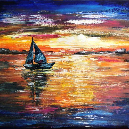 Sunset sail signé Kate_Art par artiste polonaise Katarzyna Boduch