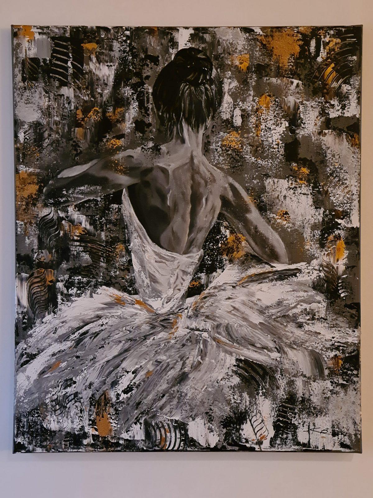 Ballerine, tableau entier, affiché sur le mur, acrylique sur toile