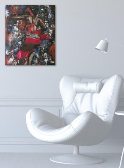 Danseuse africaine, tableau affiché sur le mur de bureau