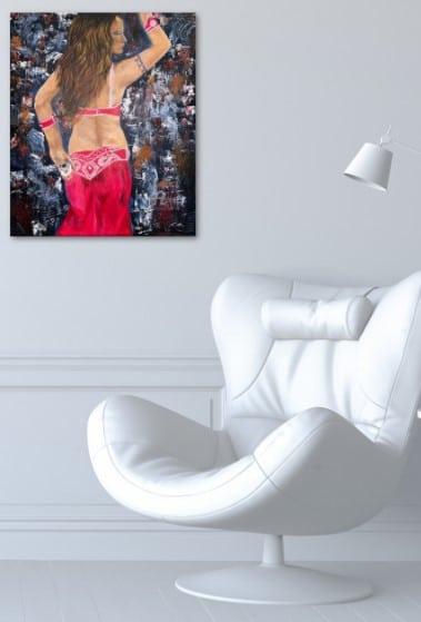 Danseuse du Harem, peinture exposé sur le mur de bureau