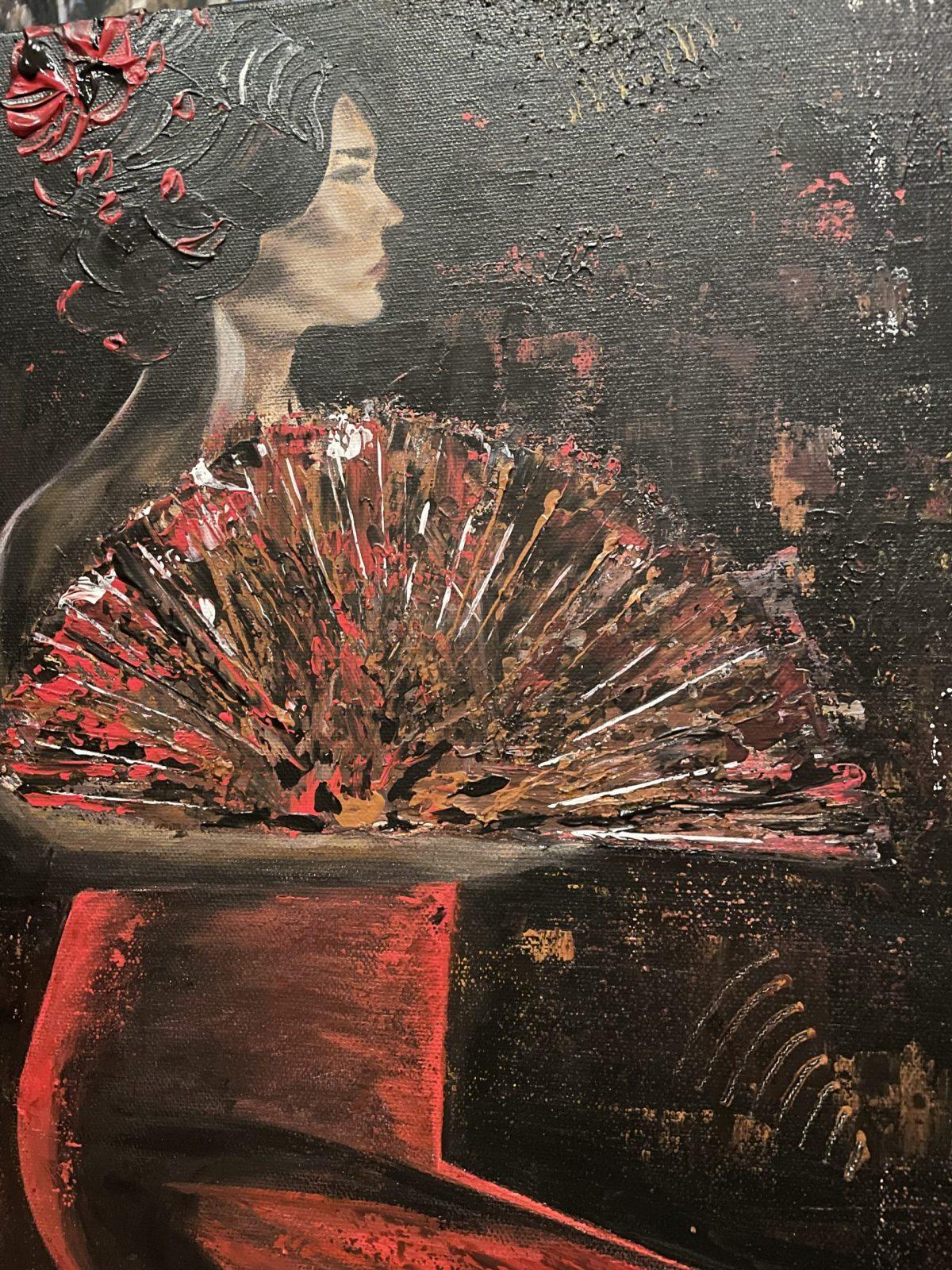 Danseuse du Flamenco, gros plan sur la danseuse, haut droite du tableau