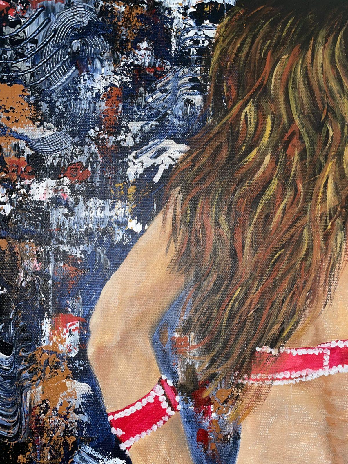 danseuse du Harem de Kate Art, gros plan sur les cheveux de la danseuse et texture de fond de tableau