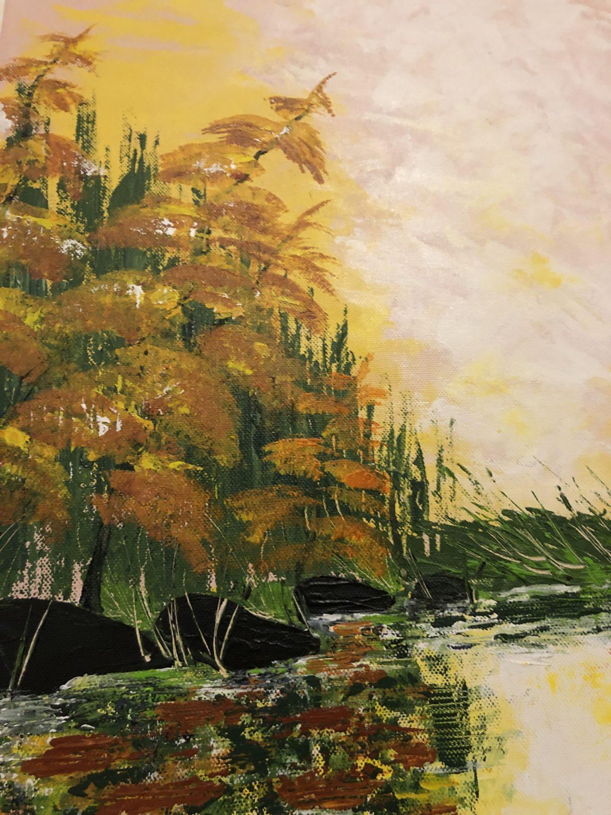 L'automne doré au lac de Kate_Art, gros plan côté gauche du tableau