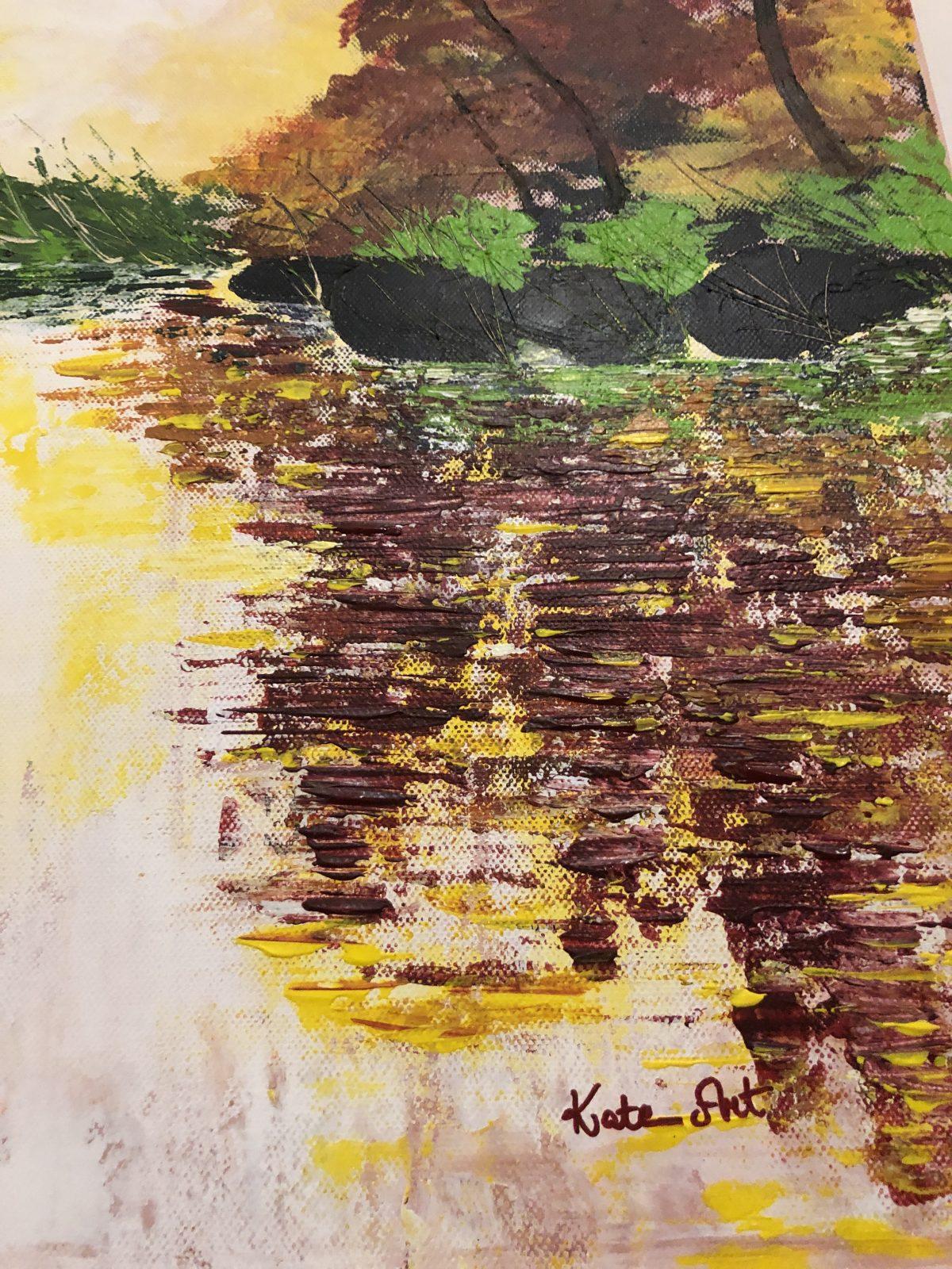 L'automne doré au lac de Kate_Art, gros plan côté droite bas du tableau