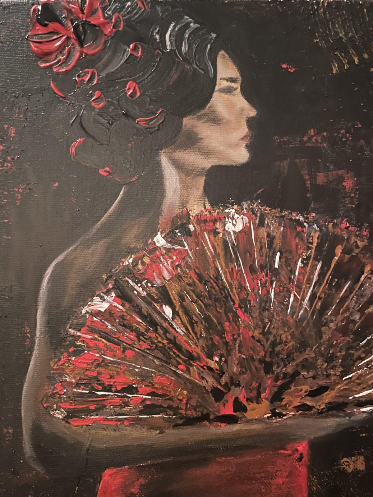 Danseuse du Flamenco, gros plan sur la danseuse
