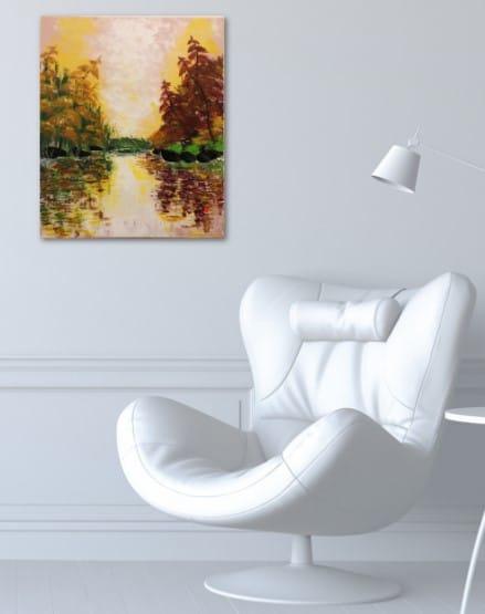 L'automne doré au lac de Kate_Art, tableau accroché au mur
