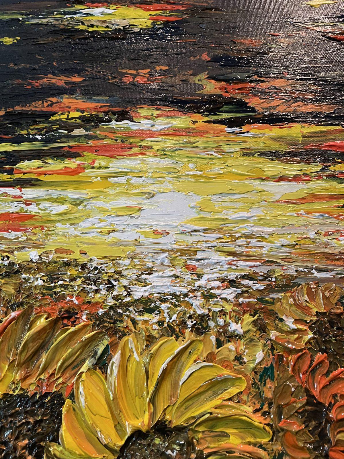 champs de tournesols - auteur Katarzyna Boduch, gros plan sur la texture, soleil