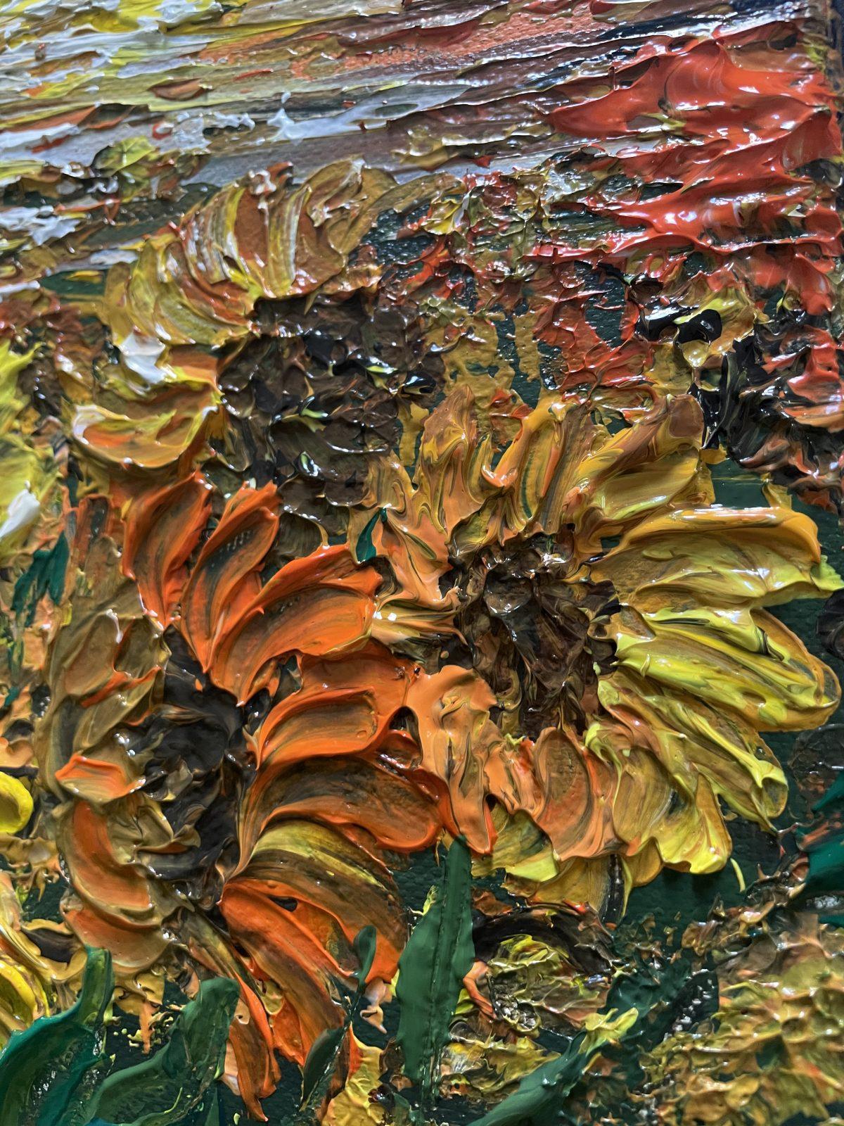 Champs de tournesols, grand plan sur les fleurs , Kate Art