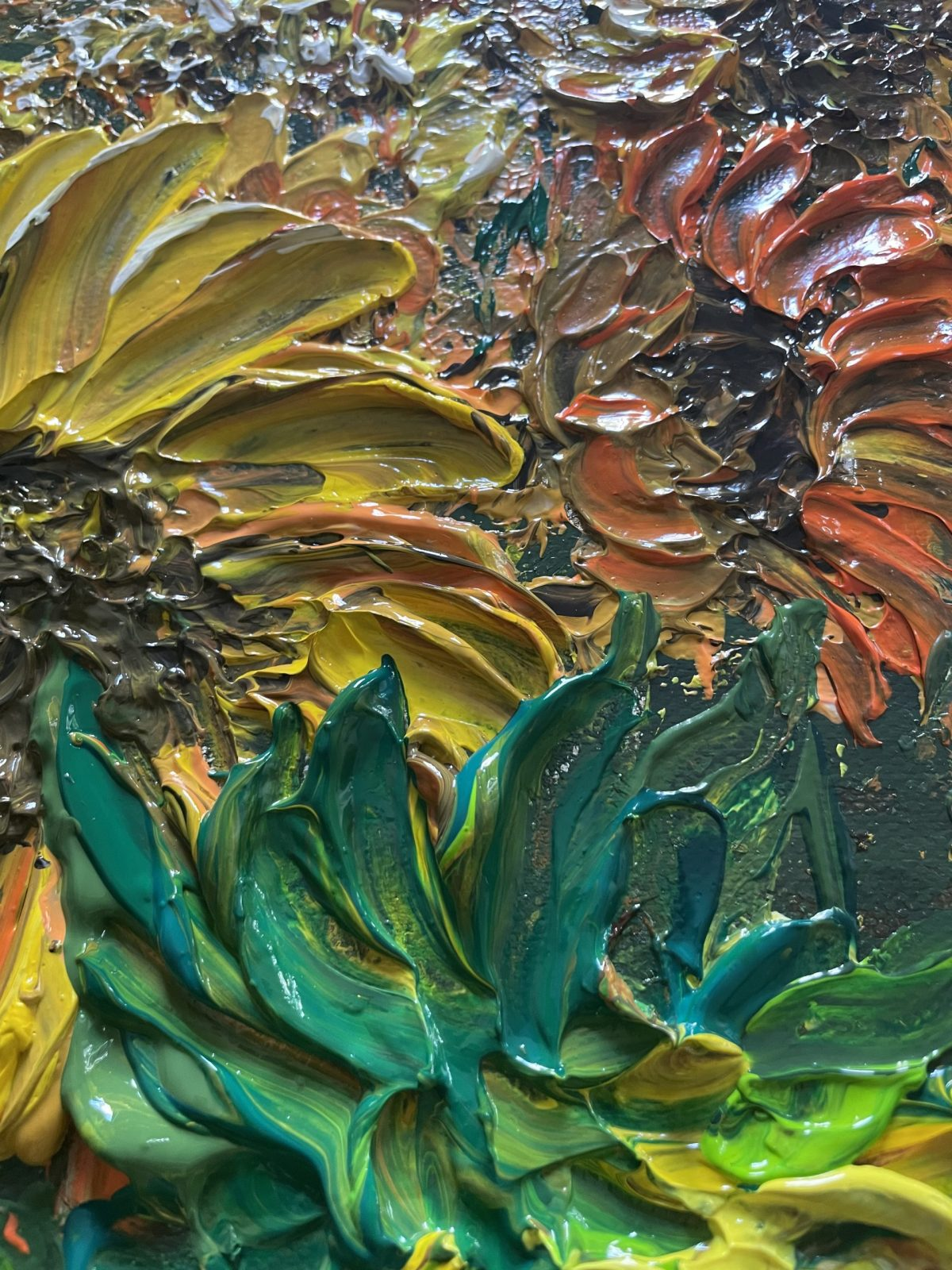 tournesols de champs de tournesols de Kate Art, plan sur les fleurs