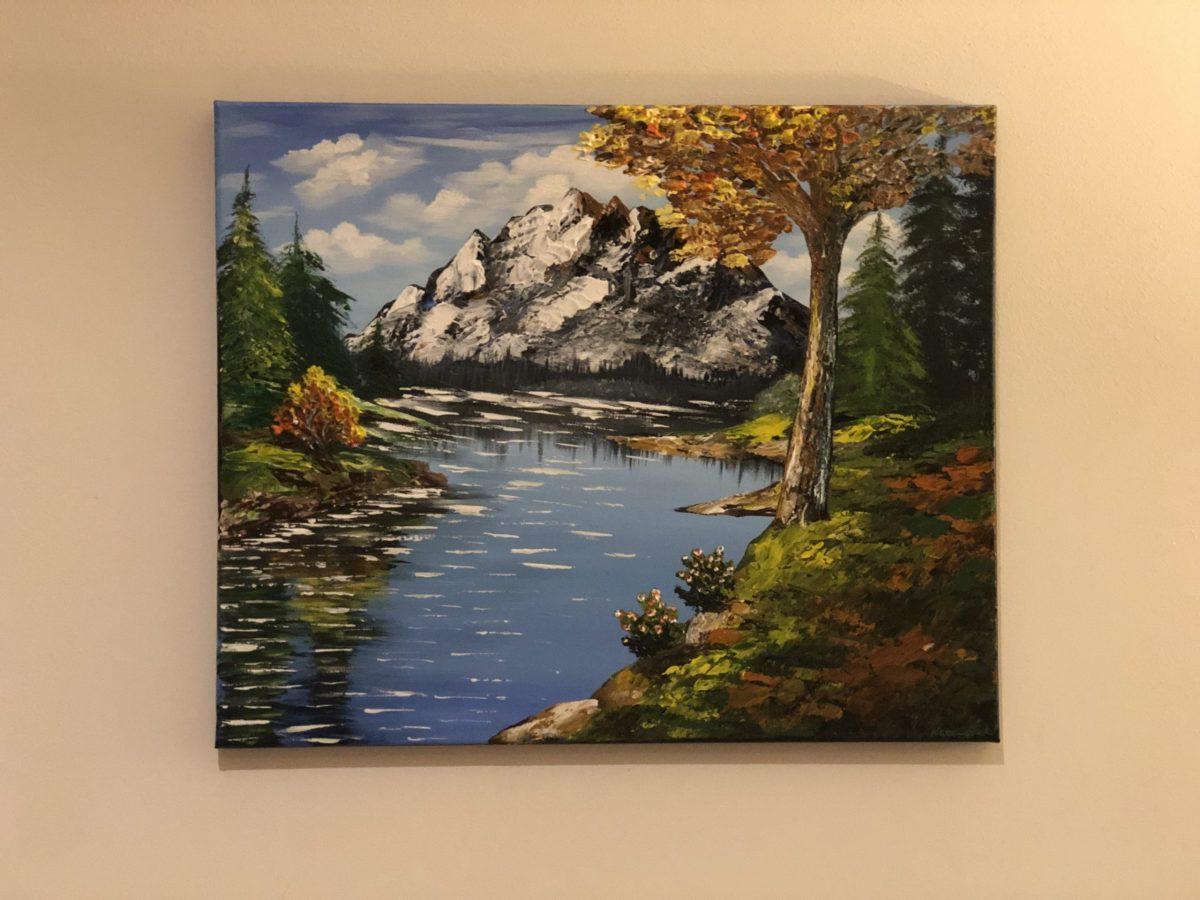 AUTUMN LAKE LANDSCAPE - tableau affiché sur le mur