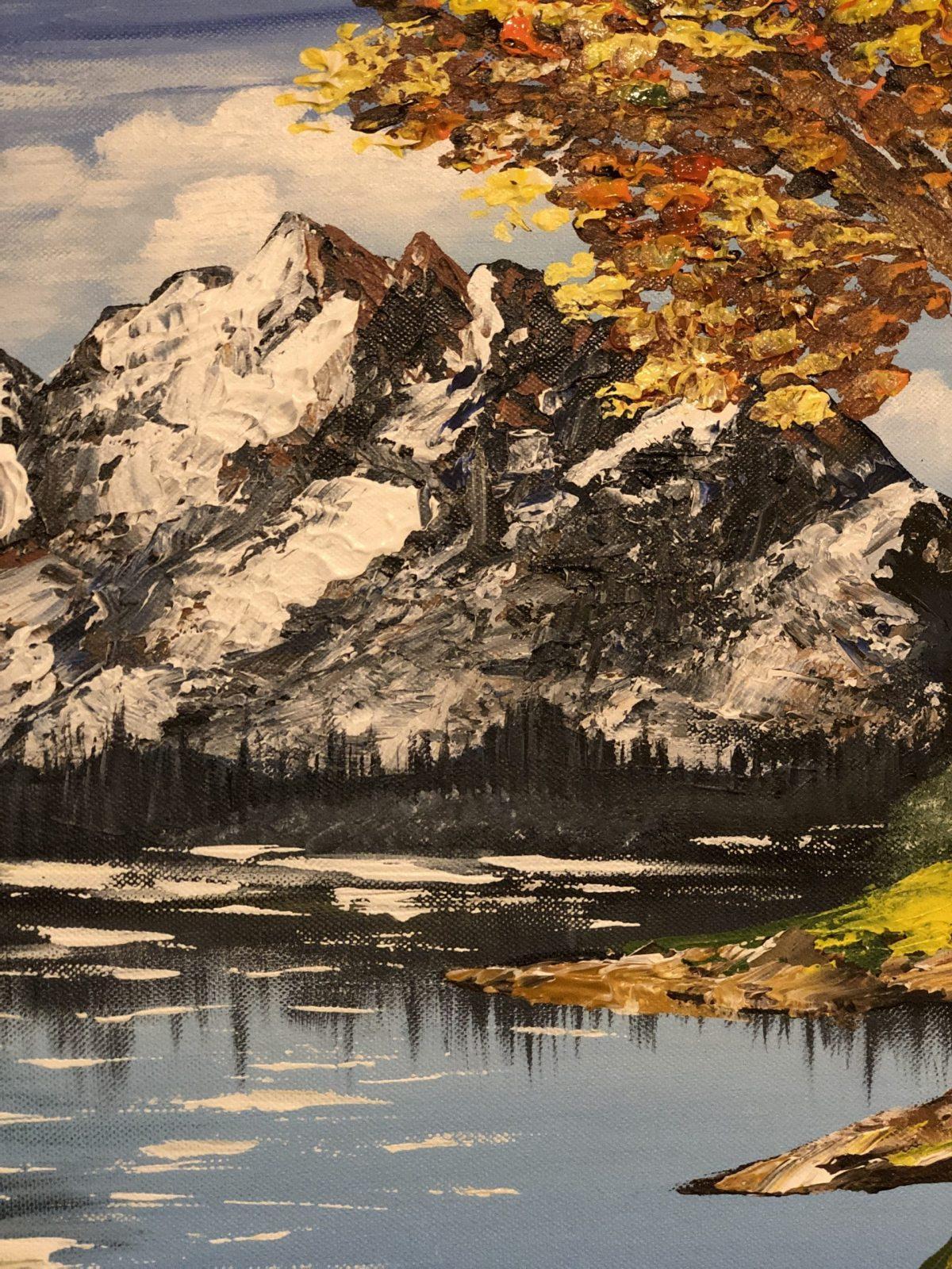AUTUMN LAKE LANDSCAPE - paysage de l'automne avec montagne au gros plan, fait au couteau à palette