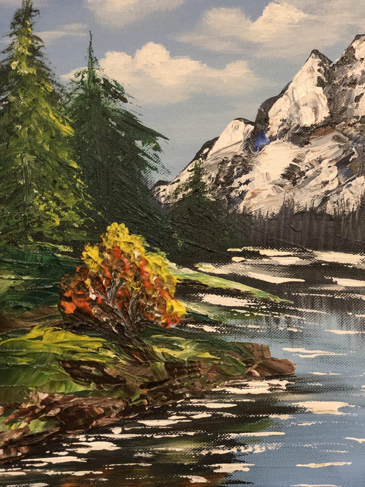 AUTUMN LAKE LANDSCAPE - paysage de l'automne, côté droi du tableau