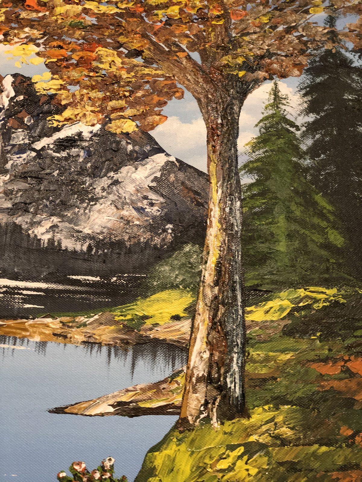 AUTUMN LAKE LANDSCAPE - paysage de l'automne avec l'arbre dorée sur le gros plan, côté droit de tableau