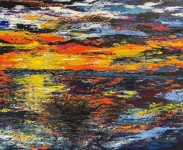 """""""La pêche au lever du soleil"""" de Katarzyna Boduch, artiste polonaise, magnifique paysage fait au couteau à palette"""