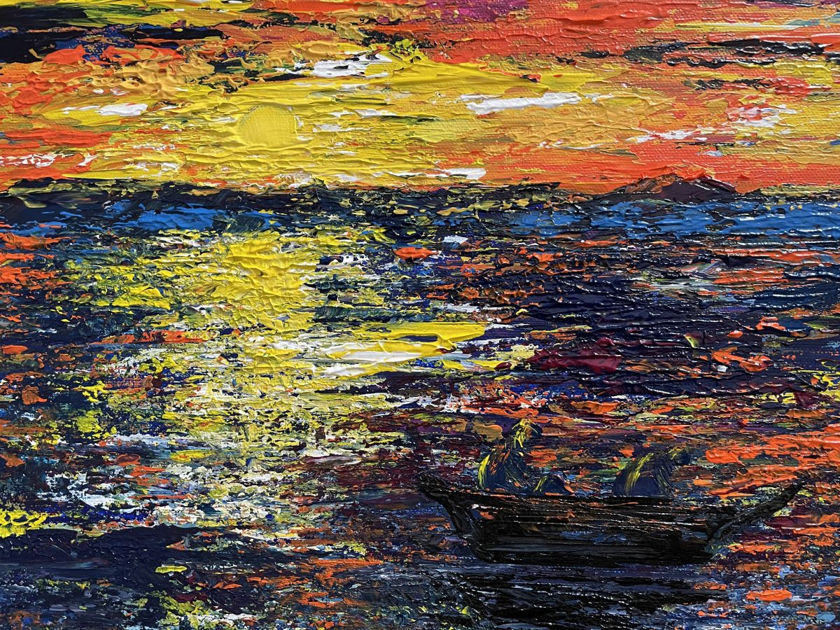 """La pêche au lever du soleil"" paysage marin, Impasto, Artiste Katarzyna Boduch"