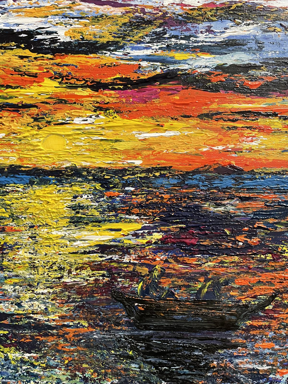 """""""La pêche au lever du soleil"""" centre du tableau (paysage marin avec le bateau des pêcheurs)"""