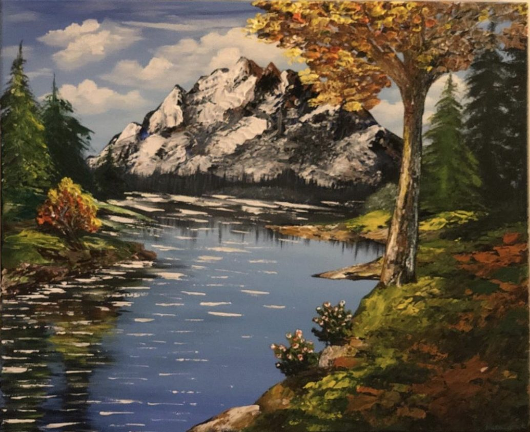 AUTUMN LAKE LANDSCAPE - peinture de l'artiste Katarzyna Boduch présentant un joli paysage de l'automne au bord de lac et la vue sur le montagne
