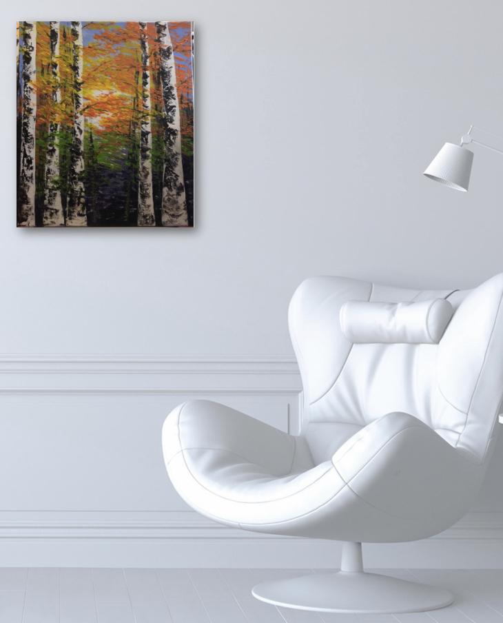LA FÔRET À L'AUTOMNE, tableau accroché sur un mur dans le bureau
