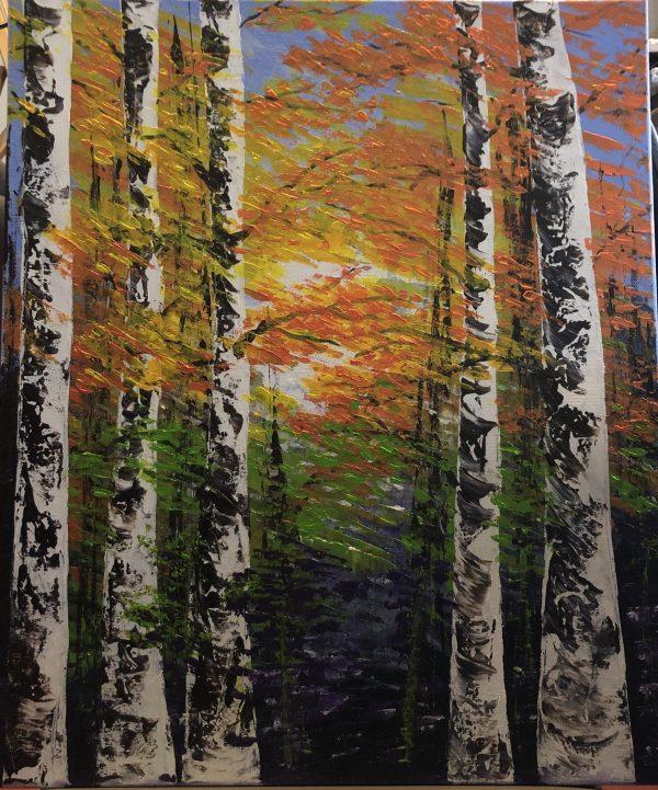 LA FÔRET À L'AUTOMNE tableau acrylique sur toile de Kate Art