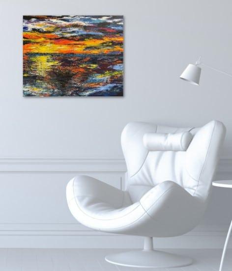 """""""peche au lever du soleil"""", tableau de Kate Art, paysage marin, accroché sur le mur d'un bureau"""