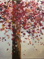 L'arbre papillon fait au couteau, en acrylique avec les feuilles d'arbre en forme de papillons