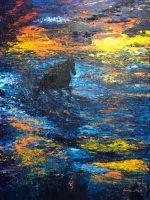 Galopant dans la vague au coucher de soleil signé Kate_Art, Katarzyna Boduch