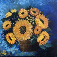 Bouquet of Sunflower réaliser au couteau par Katarzyna Boduch