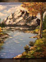 Autumn lake landscape Paysage, acrylique sur toile fait au couteau par Katarzyna Boduch