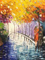In the park Peinture fait au couteau par Katarzyna Boduch, peintre polonaise