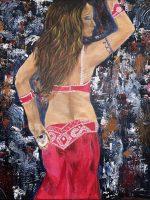Danseuse du Harem, acrylique sur toile signé Kate Art
