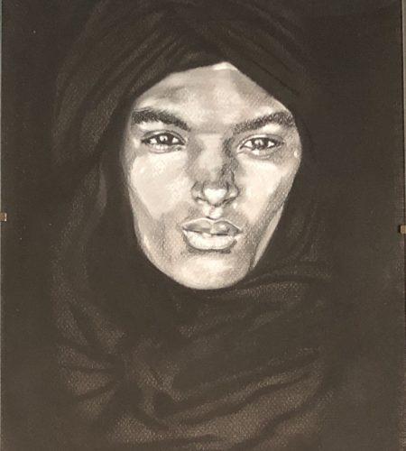 Portrait d'un Touareg en noir et blanc réalisé par Katarzyna Boduch