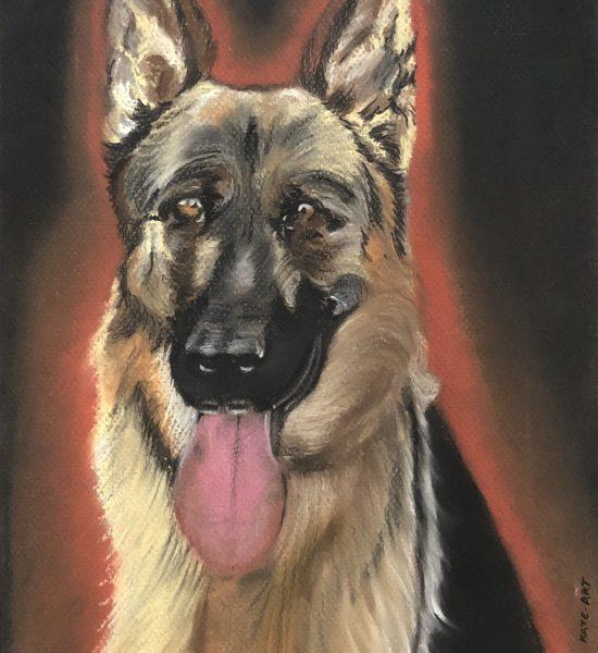 German Shepherds, Berger Allemand, dessin pastel du chien réalisé par Kate_Art galerie, d'auteur Katarzyna Boduch