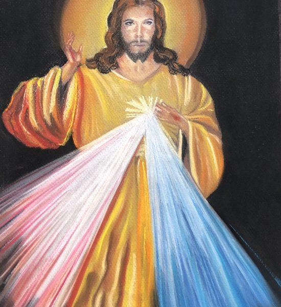 Jesus Misericordioso fait aux pastels sec par Katarzyana Boduch