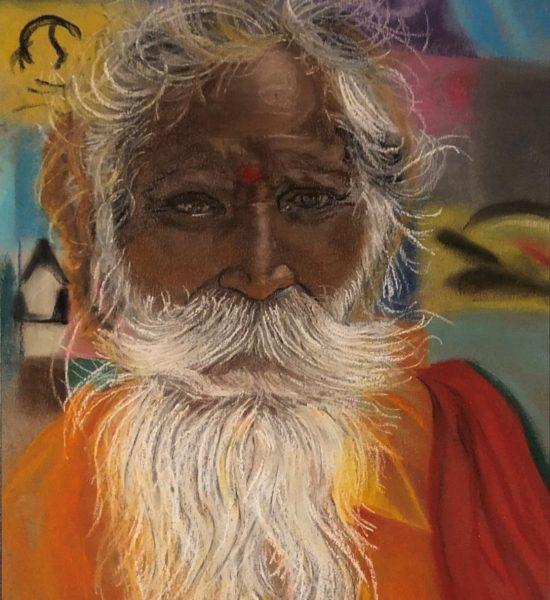 Moine hindou dessin au pastels sec de Katarzyna Boduch, signé Kate_Art
