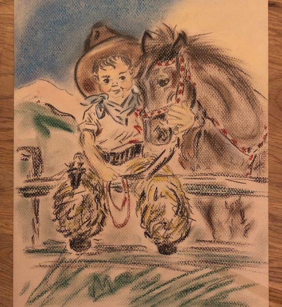 jeune cowboy, copie aux pastels secs
